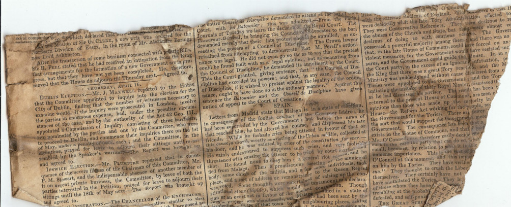 1835 newspaper found at Cathedral View guest house Lincoln