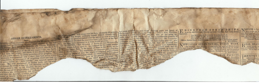 We found this 1835 newspaper while restoring our Lincoln guesthouse